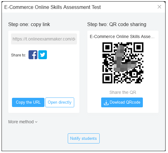QR code and link