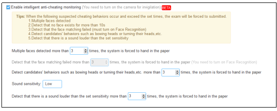 Intelligent anti-cheating function settings