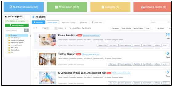 Online exam paper