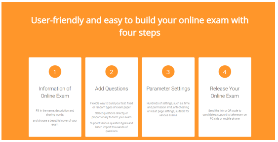Four steps to create an online exam
